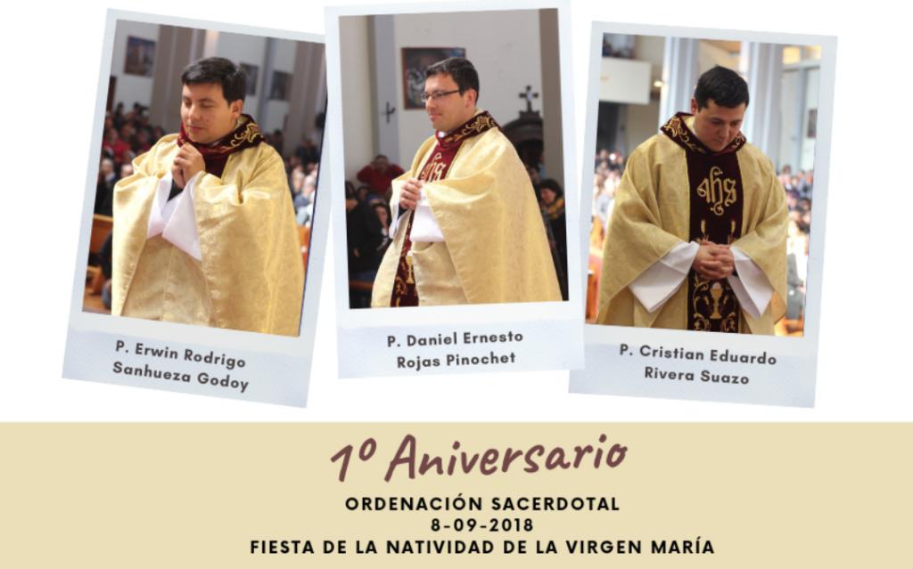 Primer aniversario sacerdotal del P. Erwin, P. Cristian y P. Daniel