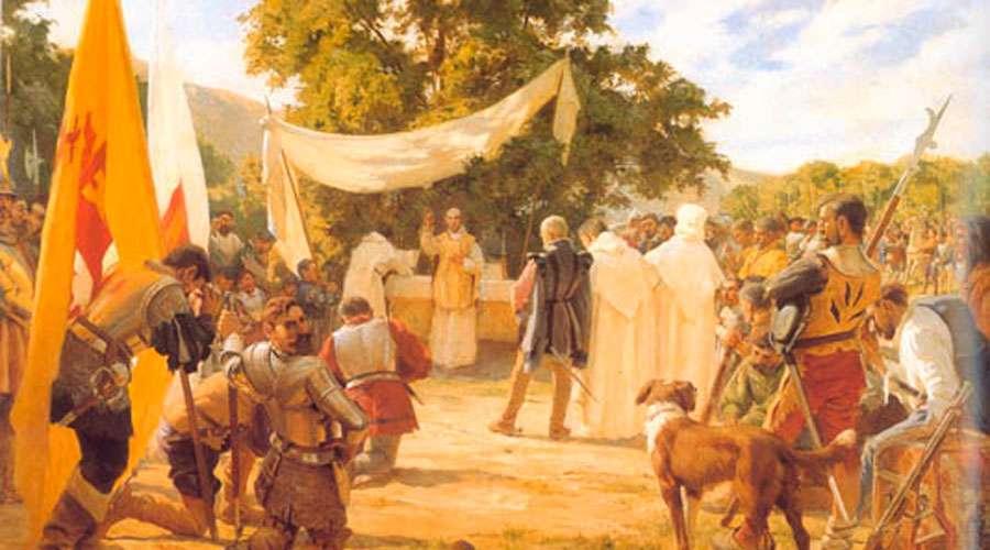 Primera Misa en Chile en 1520. Pintura de Pedro Subercaseaux de 1904. Dominio público
